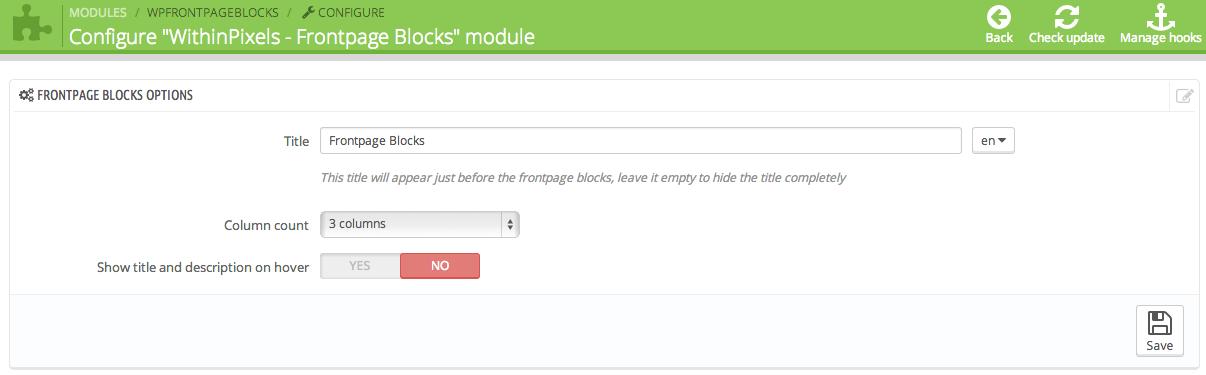 Frontpage blocks