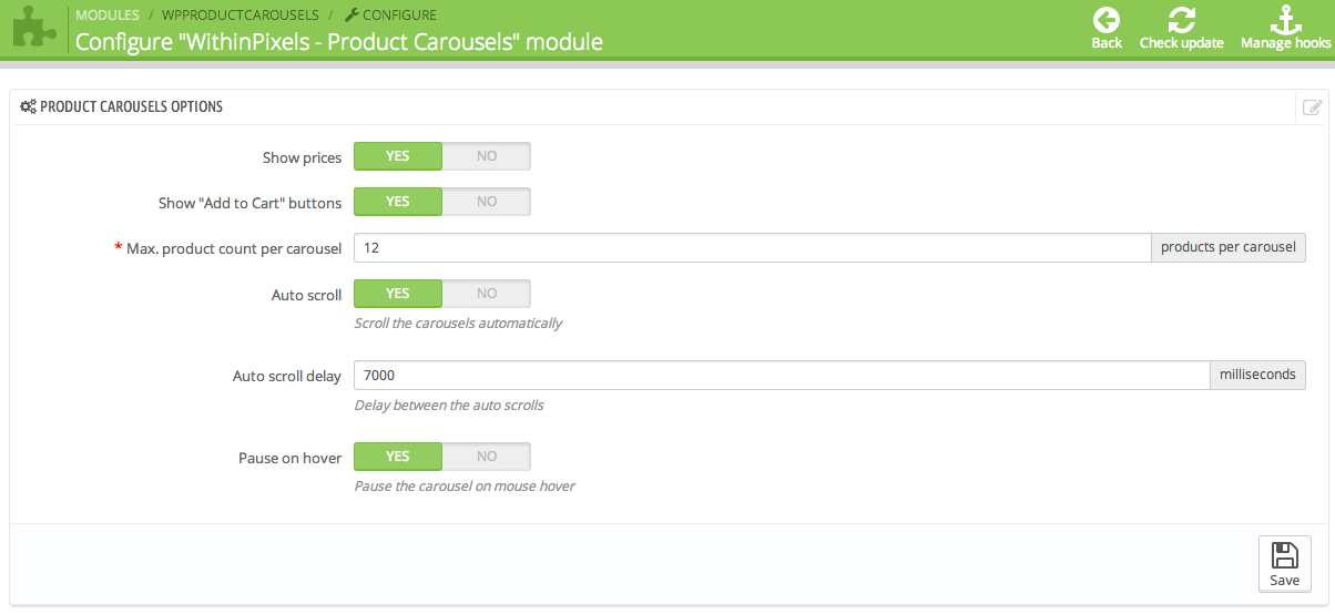 Product carousels