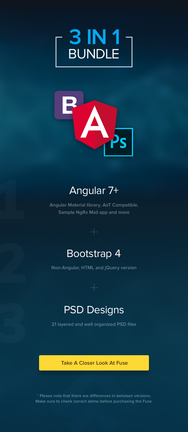 Fuse - Angular 7+ & Bootstrap 4 jQuery HTML Material Design Admin Template - 1